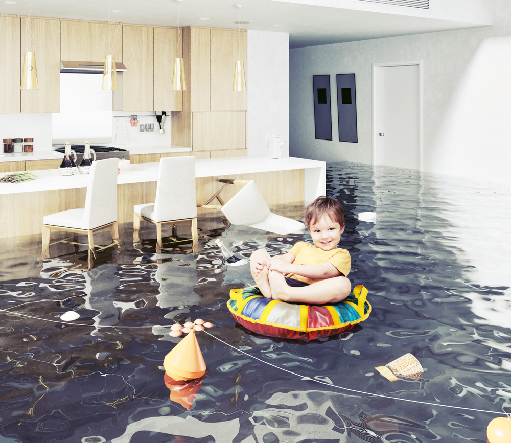 baby floating on a flooded basement